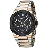 Hugo Boss Men's Classic 46mm Rose Gold-Tone Steel Bracelet & Case Quartz Black Dial Watch 1513358 (Color: Black)