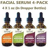 4 Bottle Serum Set – Natural Logix Anti-Aging Facial Serums - 20% VITAMIN C (1 oz) | 2.5% RETINOL (1 oz) | 5% HYALURONIC ACID (1 oz) | PEPTIDE COMPLEX (1 oz), Natural and Vegan (4 X 1 oz Droppers) (Tamaño: 1 oz)