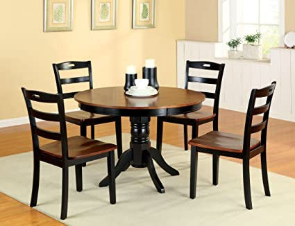 Furniture of America Berrell 5-Piece Round Duotone Dining Table Set, Antique Oak and Black Finish