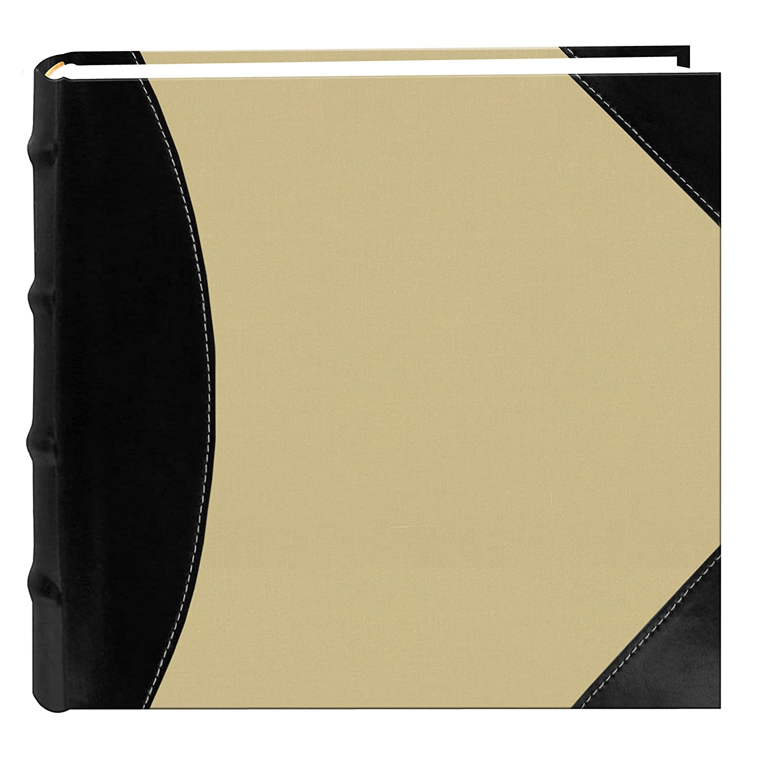 Pioneer High Capacity Sewn Fabric and Leatherette Cover Photo Album, Black on Beige