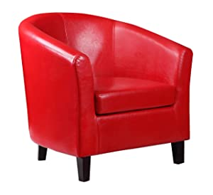 KENT FAUX LEATHER TUB CHAIR ARMCHAIR IDEAL FOR HOME, RECEPTION, HOTEL, RESTAURANT, BAR, PUB (Red)       Customer review and more news