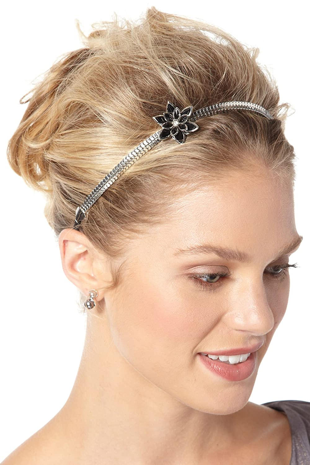 metallic flower headband for women