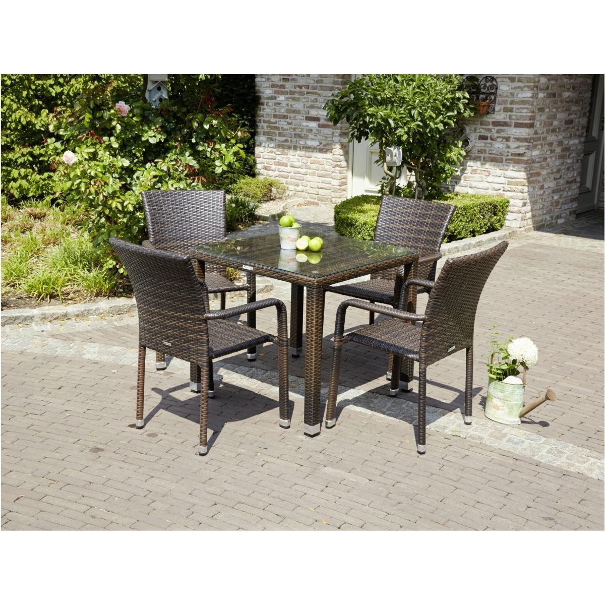 Polyrattan Sitzgruppe braun bicolor Manila 5tlg. Stapelstühle Tisch Gartenmöbel