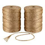 ILIKEEC Natural Jute Twine 656 Feet 6 Ply 3mm Best Arts Crafts Gift Twine Christmas Twine Industrial Packing Materials Durable String for Gardening Applications (2 PCS x 328 Feet) (Color: Natural, Tamaño: 2PCS/ 6Ply)