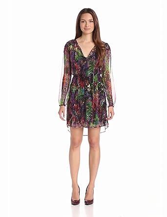 Charlie Jade Women's Long Sleeve Silk Chiffon Dress, Magenta/Green, X-Small