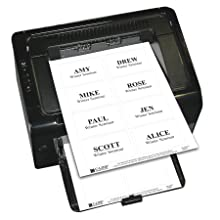 C-Line Pressure Sensitive Inkjet/Laser Printer Name Badges, Plain White 3.38 x 2.33 Inches, 200 Labels per Box (92377)