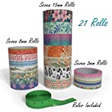 Washi Tape Set- 21 Rolls in Three Sizes with Tape Measure | Decorative Colored Masking Tapes | Craft Tape for Scrapbook Art | DIY Decorating Gift Wrapping Supplies in 3mm Thin 8mm Wide 15mm Extra Wide (Color: Pink, Red, Orange, Green, Black, White, Turquoise, Floral, Leaves, Blue, Purple, Tamaño: 21 rolls with ruler)