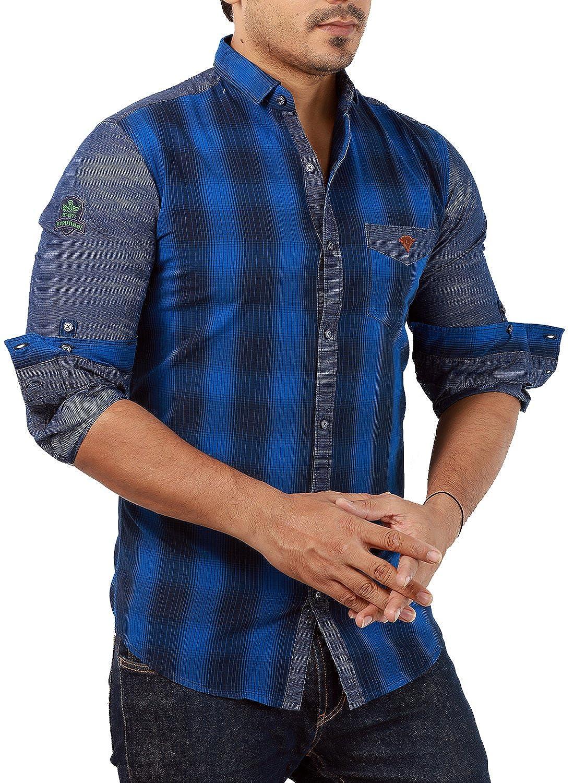 Shirt design for mens - Rapphael Full Sleeve Slim Fit Blue Checked Shirt For Men