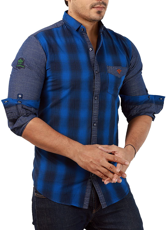 Shirt design blue cotton - Rapphael Full Sleeve Slim Fit Blue Checked Shirt For Men