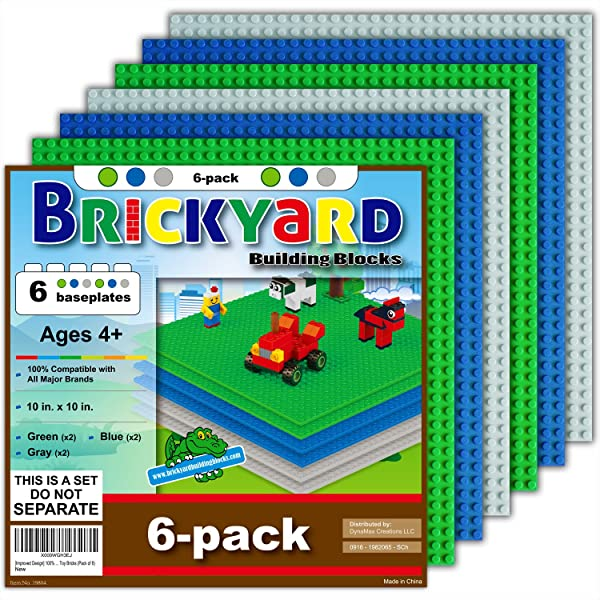"Blue 6 Pack Creative Toy Building Bricks Baseplate 10/"" x 10 Inch"