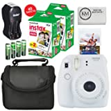 Fuji Instax Mini 9 Camera Smokey White + Carry Case + Rechargeable AA Batteries & Charger + Instax Mini Film (40 Sheets) (Color: Smokey White)