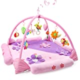 ROOYA BABY Baby Play Gym Mat for 1-2 Babies, Large Musical Activity Gym/Playmat with Removable Crossed Arches & 9 Activity Toys Works as Crawling Pad Tummy Time for 1-36 Month Baby Newborn (Pink) (Color: Pink-purple)