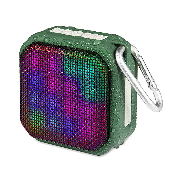OG-EVKIN Portable Wireless Bluetooth Speakers, Waterproof IPX4 Stereo Bluetooth Speaker with 7 LED Visual Modes and Build-in Microphone Hands-Free Pho