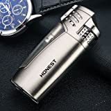 Triple Jet Torch Lighter 3 Flame Butane Turbo Lighter with Cigar Punch Cutter & Visualization Window Gas Refillable Windproof Perfect Gift for Male Friends (Gas Not Included) (Brushed Silver) (Color: Brushed Silver)