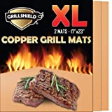 GrillShield Extra Large Copper Grill and Bake Mats Set of 2 - Best Gift - 17 X 23 inches Non Stick Mats for BBQ Grilling & Baking, Reusable and Easy to Clean (Color: Copper, Tamaño: 17 X 23 Inches)