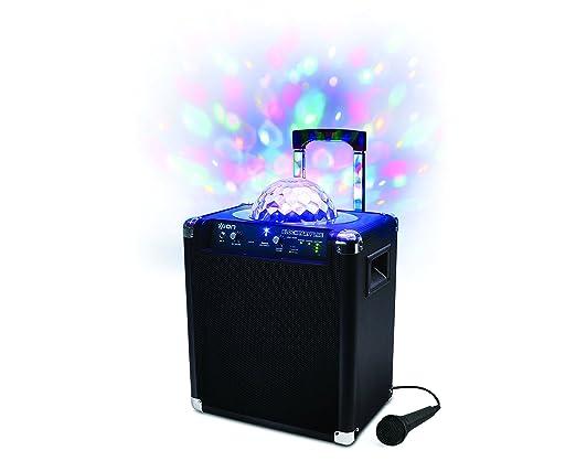 ION Audio Block Party Live - Sono Bluetooth 50W Portable et Rechargeable avec Eclairage LED Disco + Microphone et Karaoké