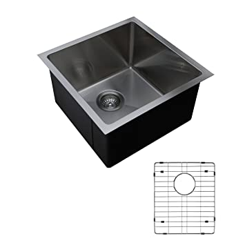 Ukinox RS390.G Modern Undermount Single Bowl Stainless Steel Kitchen Sink with Bottom Grid