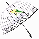 Kung Fu Smith 50'' Birdcage Clear Bubble Umbrella, Safe Manual Open & Windproof Umbrella For Girls and Women (Color: Birdcage, Tamaño: Large)