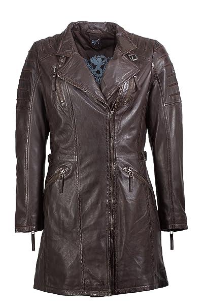 Gipsy Damen Kurzmantel, eine tolle Longjacke aus echtem Leder in dunkelbraun
