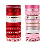 VATIN 20 Rolls 100 Yards Valentine's Day Ribbons Trims Printed Grosgrain Ribbons Polyester Satin Ribbon 3/8