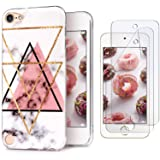 iPod Touch 7th Generation Case with 2 Screen Protectors, IDWELL iPod Touch 6 Case, iPod Touch 5 Case, Slim FIT Anti-Scratch Flexible Soft TPU Bumper Hybrid Shockproof Protective Cover, Triangle Marble (Color: Triangle Marble)