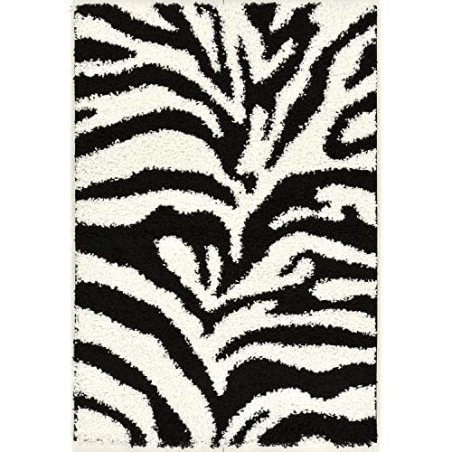 Black and White Animal Print Zebra Design High Pile Soft Shag Area Rug (5X7)