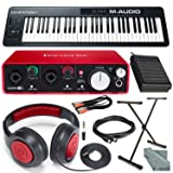 M-Audio Keystation 61 II MIDI Keyboard Controller & Focusrite Scarlett 2i2 USB Audio Interface (2nd Generation) + Deluxe Studio Bundle