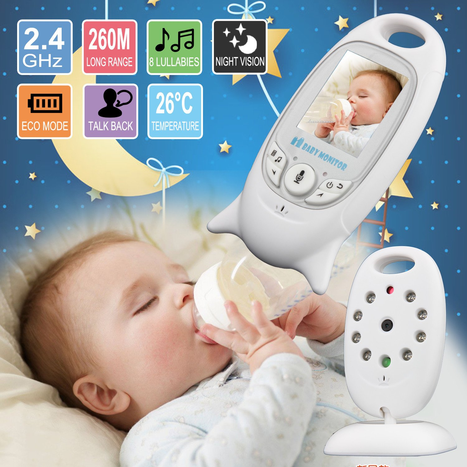 2 0 wireless baby monitor vb601 audio video camera night vision safety viewer ebay. Black Bedroom Furniture Sets. Home Design Ideas
