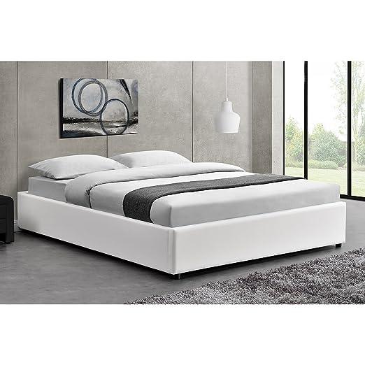 Le Saga: estructura de cama de color blanco sintética con baúl y somier–140x 190cm