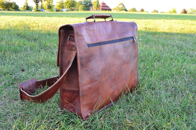 5b2037f3d8 PL 18 Inch Vintage Handmade Leather Messenger Bag for Laptop Briefcase  Satchel Bag   Cyber