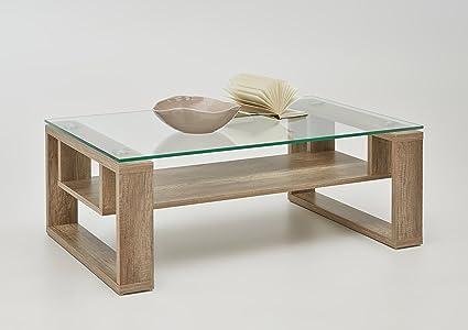 Apollo 022523 Glas-Couchtisch Andre, 110 x 70 x 42 cm, Klarglasplatte, Kufengestell wildeiche