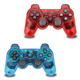 2pcs Pack Wireless PS2 Game Controller, Double Shock Gamepad for Sony PlayStation 2