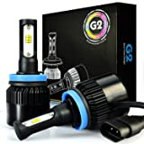 JDM ASTAR G2 8000 Lumens Extremely Bright CSP Chipsets H11 H8 H9 LED Headlight Bulbs Conversion Kit for Fog light, DRL and Headlights, Xenon White