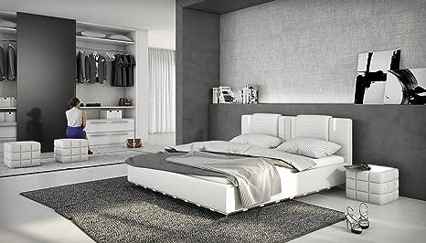 Designerbett LED Bett Polsterbett Doppelbett Kunstlederbett 180x200 cm Weiß modernes Design