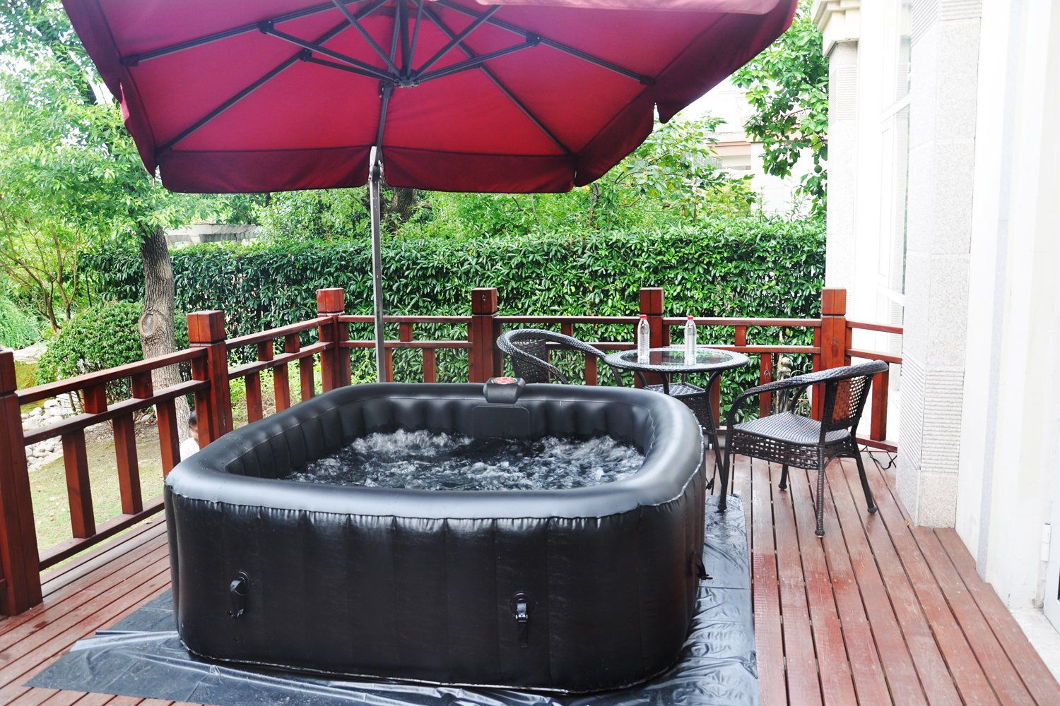 Homax Inflatable 252 Gallons(950 Liter) SPA 6-Person 130 Air Jets Include Accessories Square Portable Hot Tub SPA Easy Plug N Play, Black
