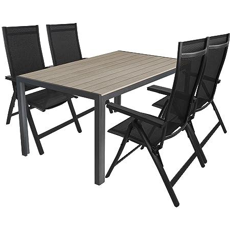 Gartenmöbel Set Gartentisch, Tischplatte Polywood Grau, Aluminiumrahmen Anthrazit, 150x90cm + 4x Hochlehner, Aluminiumgestell Schwarz, Polywood Armlehnen, Textilenbespannung Schwarz