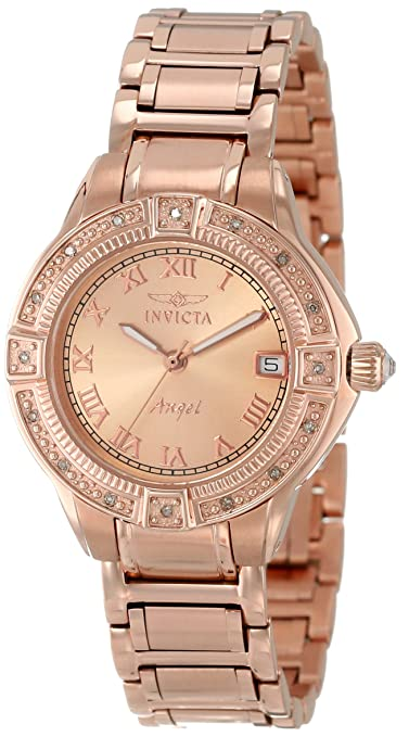 "Invicta Women's 14803 ""Angel"" 18k Rose Gold Ion-Plated Stainless Steel and Diamond Bracelet Watch"