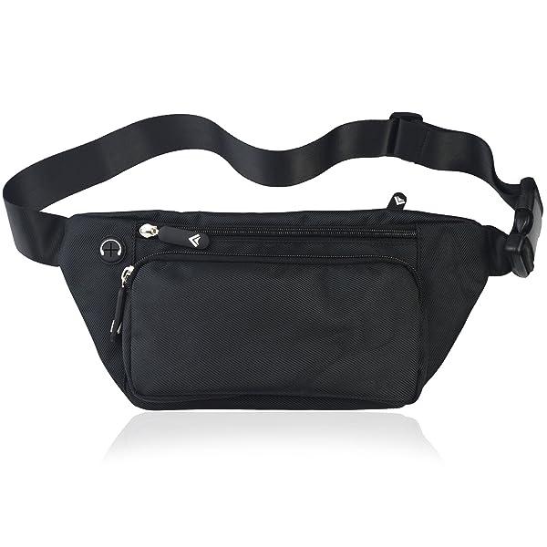 TIFRY Black Fanny Pack Men Women Waist Pack Bag Quick Release Buckle Water Resistant