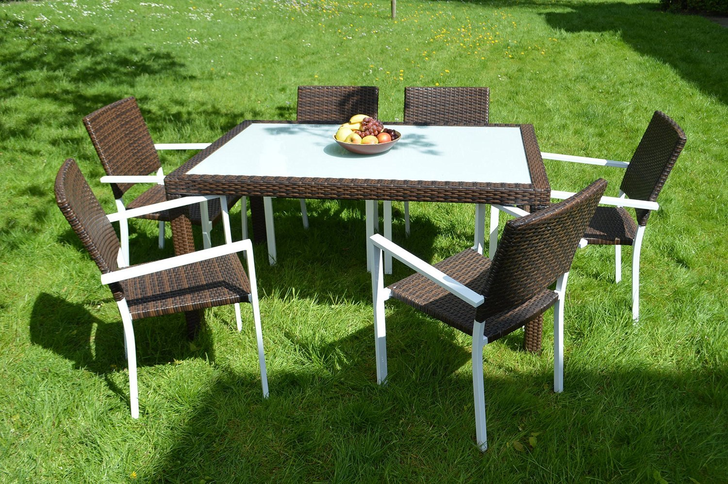 gartenm bel essgruppe rattan dinning set in aluminium rostfrei tisch 6 st hle g nstig bestellen. Black Bedroom Furniture Sets. Home Design Ideas