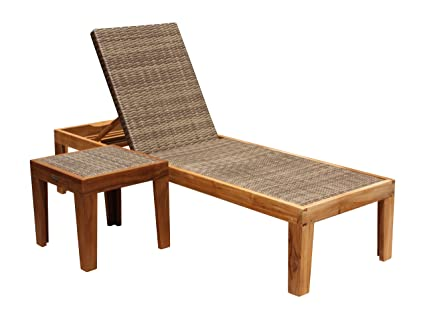 Panama Jack Outdoor Leeward Islands Natural Teak 2-Piece Chaise Lounge Set, Includes 1 Chaise Lounges and 1 End Table