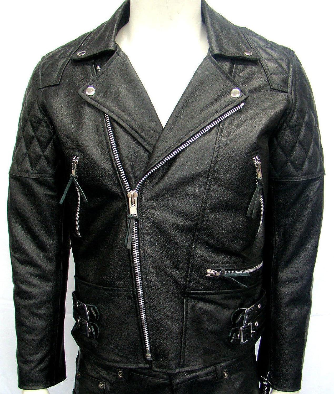 Mann fach schwarz Biker echtem Rindsleder strapazierfähiges Lederjacke bestellen