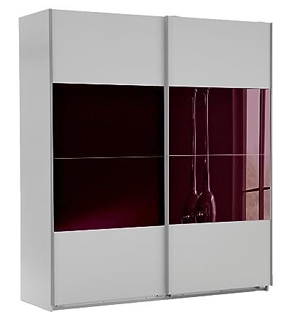 Wimex 507073 Schwebeturenschrank, 180 x 210 x 65 cm, alpinweiß / glas brombeere