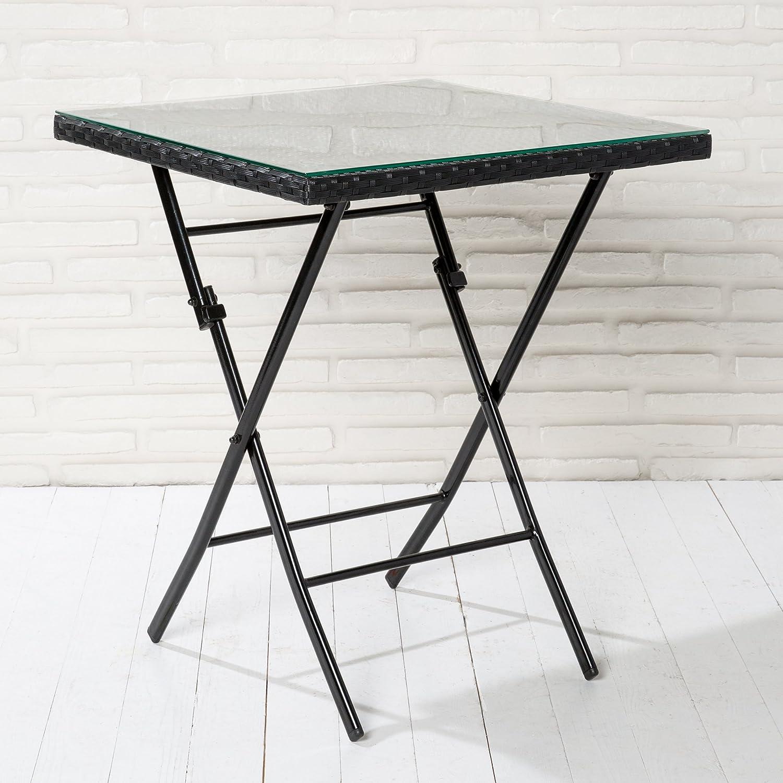 Klapptisch Gartentisch Poly Rattan schwarz mit Klarglasplatte Tisch klappbar