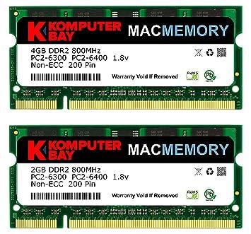 "Komputerbay MAC MEMORY Kit 6 Go (4 Go + 2 Go Modules) PC2-6300 800MHz DDR2 SODIMM pour Apple iMac 24 ""2008 2,8 GHz, 3,06 GHz"