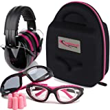 TRADESMART Shooting Range Earmuffs and Glasses - Ear and Eye Protection for The Gun Range with Protective Case, - UV400 Anti-Fog and Anti-Scratch Clear and Tinted Safety Glasses - NRR 28 (Pink) (Color: Pink & Black)