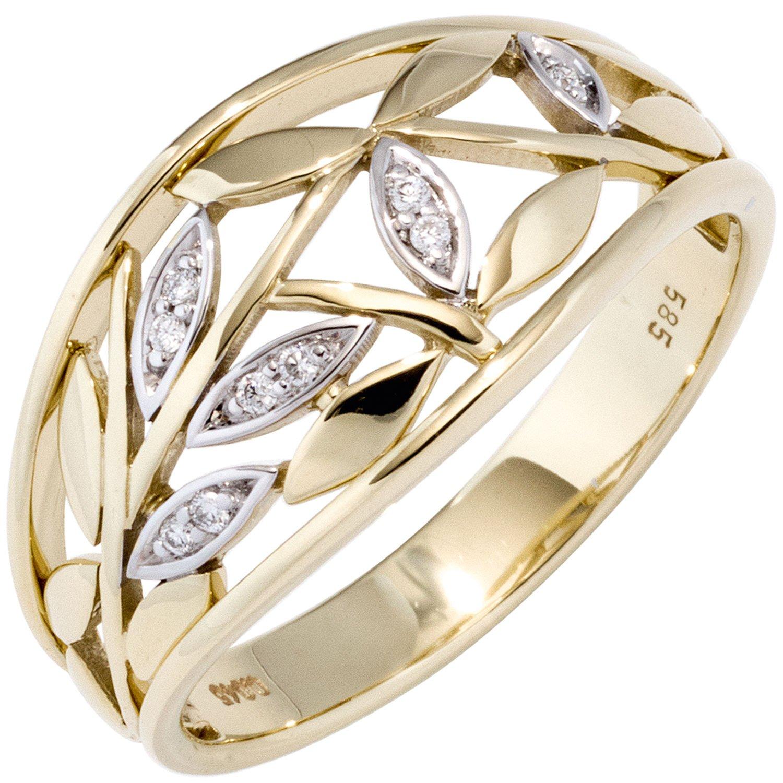 JOBO Damen Ring 585 Gold Gelbgold bicolor 9 Diamanten Brillanten Goldring Diamantring bestellen