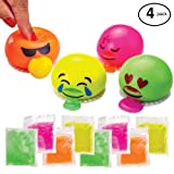 New! Emoji Slime Spitting Putty Squeezer | Soft & Squishy Stress Relief Party Favor | Trick Toy - Pack of 4 Emoji Slimes for Kids and Adults