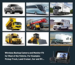 Wireless Backup Camera with Monitor System Split Screen for Rv Rearview Reversing Back Camera No Interface Ip69 Waterproof + Big 7'' Wireless Monitor for Truck Trailer Heavy Box Truck Motorhome . (Color: W2)