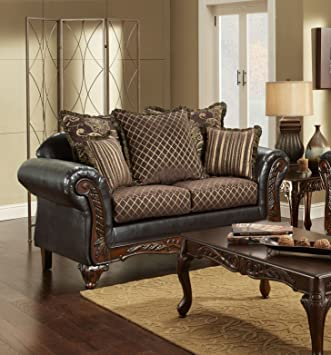 Chelsea Home Furniture Amelia Loveseat, Sienna Brown/Bi-Cast Brown