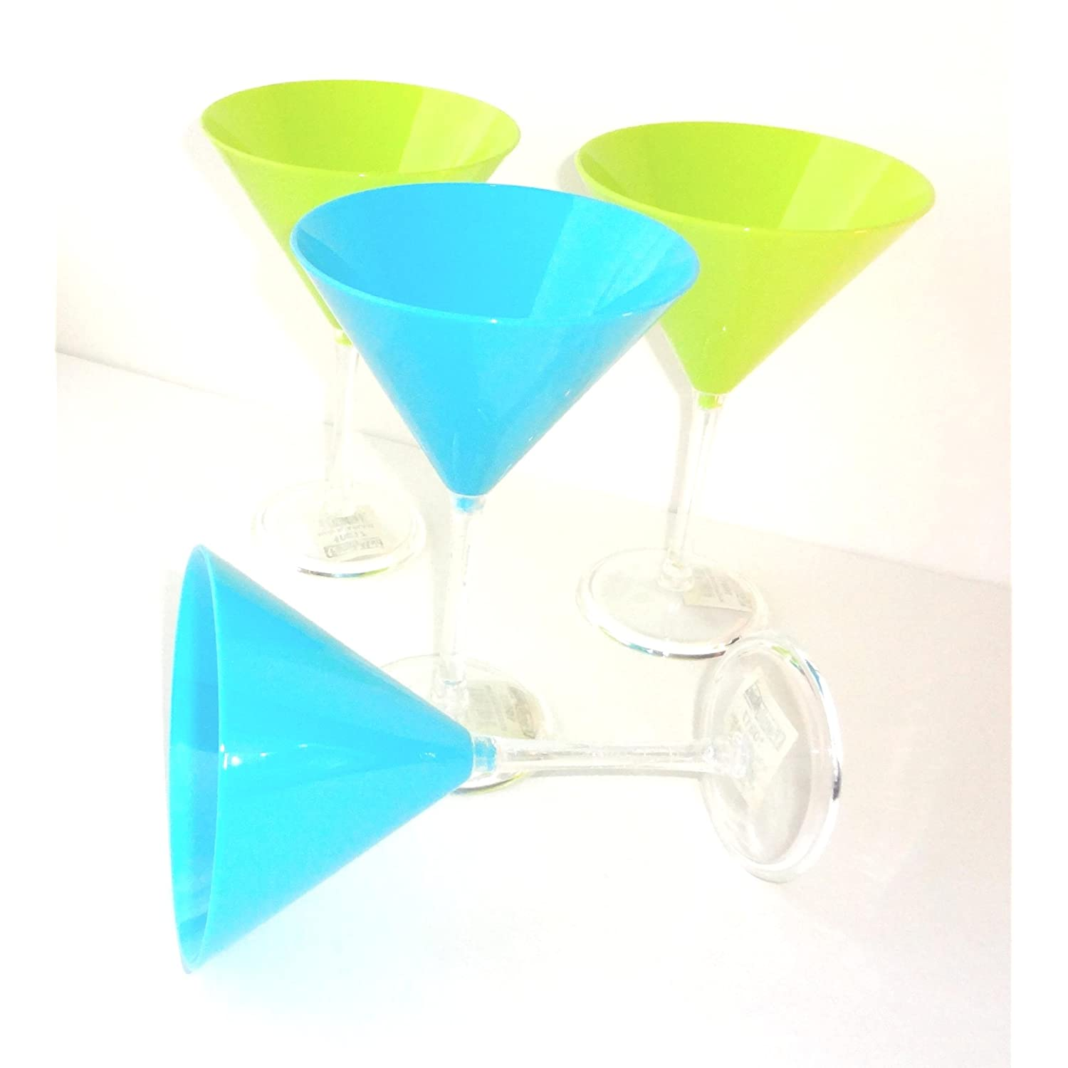 Margarita Glasses Set of 4 Neon Colors Blue & Neon Green 8.5 Oz